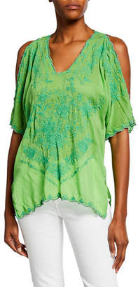 Johnny Was Kelly Cold-Shoulder Georgette Blouse w/ Tonal Embroidery