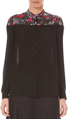 Carolina Herrera Button-Down Long-Sleeve Silk Chiffon Blouse with Floral-Embroidery