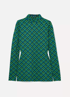 Diane von Furstenberg Jacquard-knit Turtleneck Top - Dark green