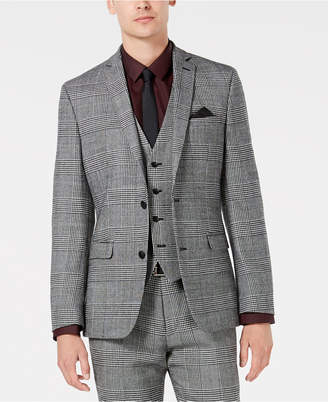 Bar III Men's Slim-Fit Black/White Plaid Suit Jacket