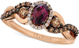 Le Vian Chocolatier® Raspberry Rhodolite® Garnet (5/8 ct. t.w.) and Diamond (1/2 ct. t.w.) Twist Ring in 14k Rose Gold $2,571 thestylecure.com