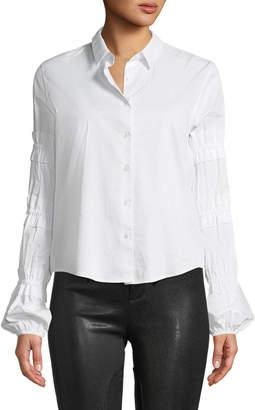 Alexis Andriel Button-Front Ruffle Cotton Shirt