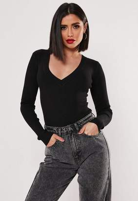 Missguided Black Ultimate Plunge Knit Bodysuit