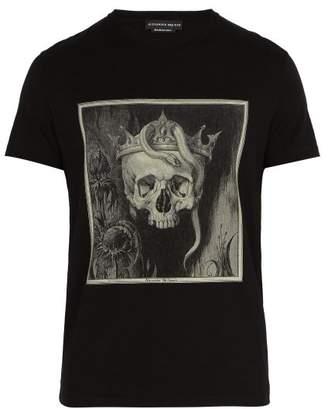 Alexander McQueen Skull Print Cotton T Shirt - Mens - Black Multi