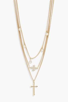 boohoo Diamante & Cross Layered Necklace