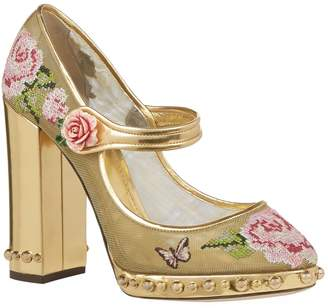 Dolce & Gabbana Mesh Embroidered Mary Jane Pumps