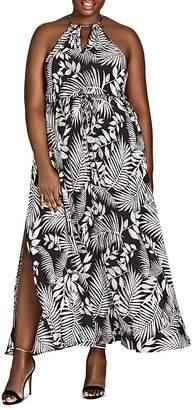 City Chic Plus Sleeveless Palm-Print Maxi Skirt