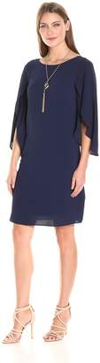 Amy Byer Women's Tulip Sleeve Shift Dress with Necklace