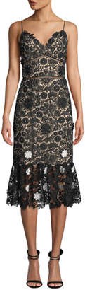 ML Monique Lhuillier Sleeveless Lace Dress w/ 3D Floral Details