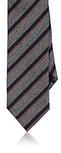 Barneys New York MEN'S STRIPED BASKET-WEAVE SILK-COTTON NECKTIE-GRAY