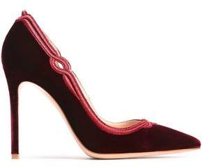 Gianvito Rossi Cutout Embroidered Velvet Pumps