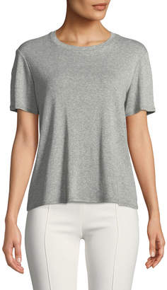 The Row Wesler Crewneck Short-Sleeve Heathered Cotton Top