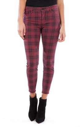 KUT from the Kloth Connie Plaid High Waist Fray Hem Ankle Skinny Jeans