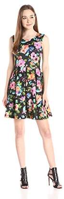 Betsey Johnson Women's Floral Scuba Fit and Flare Dress, Black/Multi, 6
