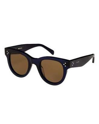 Celine Studded Round Acetate Sunglasses, Blue Pattern