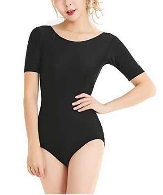 Mirry Women's Leotard Short Sleeve Bodysuit Yoga Ballet Lycra Spandex Dance Leotard