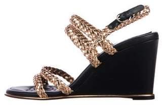 Chanel Metallic Braided Wedge Sandals