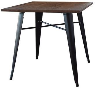 LOFT AmeriHome Black Metal Dining Table with Wood Top