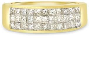 14k Yellow Gold 1.00ct. Diamond Princess Cut Invisible Set Band Ring Size 7