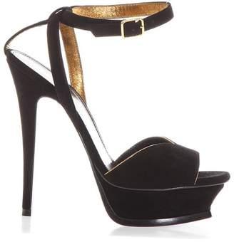Saint Laurent Tribute 105 Black Suede Sandals