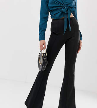 Missguided Tall jersey flare trousers in black