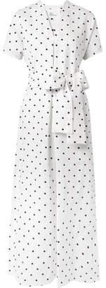 Lisa Marie Fernandez Rosetta Embroidered Polka-dot Linen Dress - White