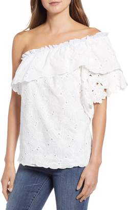 Kas Dulia One-Shoulder Eyelet Blouse