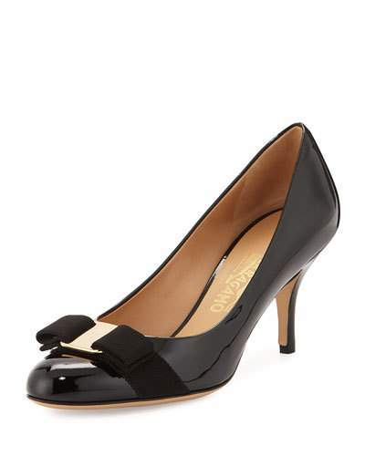 Salvatore Ferragamo Patent Bow Pump, Black