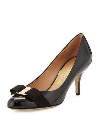 Salvatore Ferragamo Carla Patent Bow Pump, Black $595 thestylecure.com