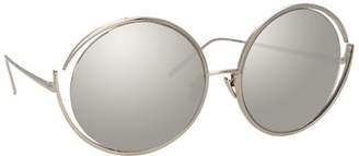 Linda Farrow Round Open-Temple Mirrored Sunglasses, White Pattern