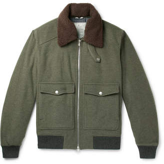 Brunello Cucinelli Shearling-Trimmed Wool And Cashmere-Blend Felt Bomber Jacket