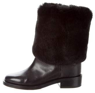 Chanel Fur-Trimmed CC Boots
