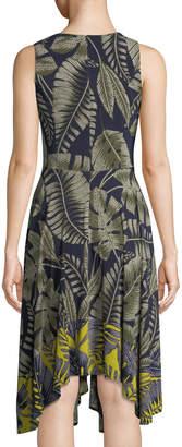 Maggy London Palm-Leaf Sleeveless Handkerchief Dress