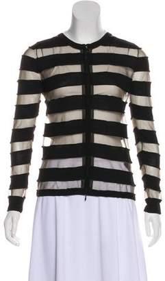 Anne Fontaine Stripe Zip-Up Cardigan