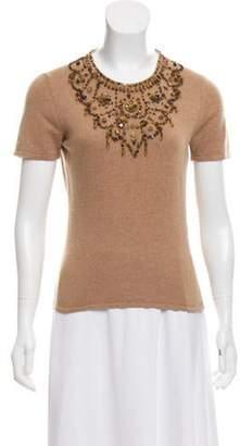 Oscar de la Renta Embellished Cashmere Top brown Embellished Cashmere Top