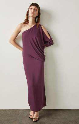 BCBGMAXAZRIA Cascading One-Shoulder Gown
