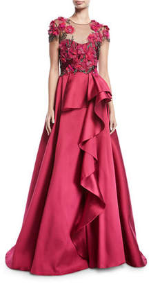 Marchesa Floral-Bodice Illusion Ball Gown