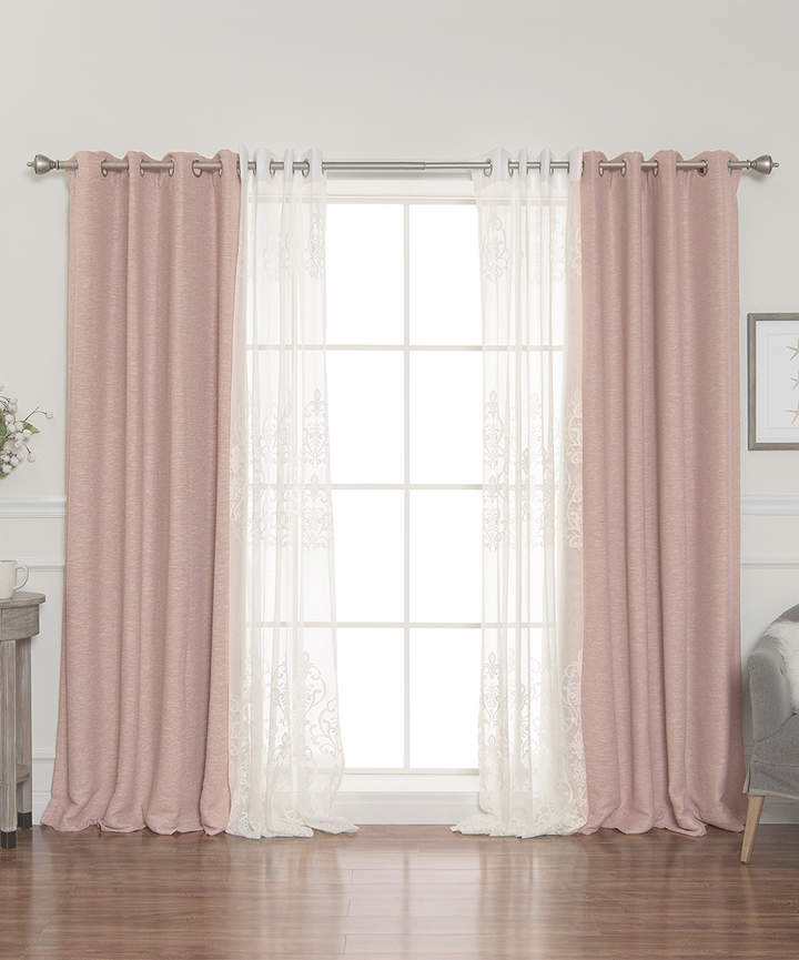 Taupe Sheer & Blackout Four-Piece Mix & Match Curtain Set