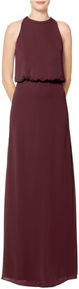 #Levkoff Halter Neck Blouson Bodice Chiffon Evening Dress