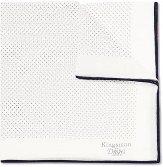 Kingsman + Drake's Polka-Dot Cotton and Silk-Blend Pocket Square