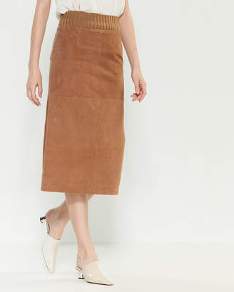 Les Copains Leather Midi Skirt