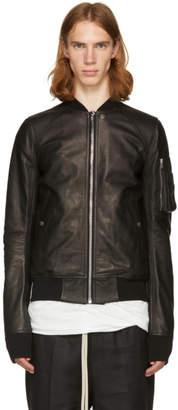 Rick Owens Black Leather Raglan Bomber Jacket