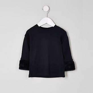 River Island Mini girls navy faux fur cuff top