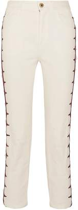 Chloé Cropped Embroidered High-rise Straight-leg Jeans