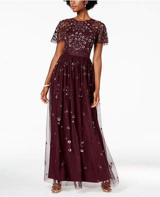 Adrianna Papell Floral Sequined Gown, Regular & Petite
