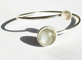 Kate Holdsworth Designs Silver Bangle With Textile And Fused Glass