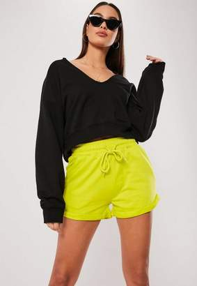 Missguided Lime Tie Waist Turn Up Runner Shorts, Lime