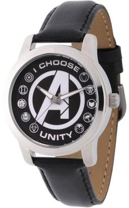 Marvel Classic Men's Avengers Logo, Captain America, Black Widow, Hulk, Ant-Man, Falcon, Wasp, Thor, Hawkeye, Black Panther, Iron Man Silver Alloy Watch, Black Leather Strap
