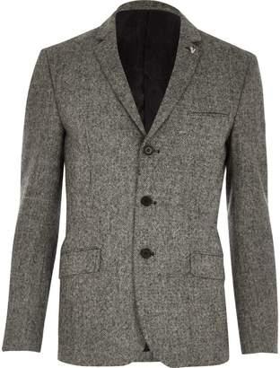 River Island Mens Grey Vito textured blazer