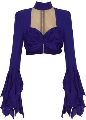 Balmain Cropped Mesh-Paneled Silk-Satin And Crepe Top
